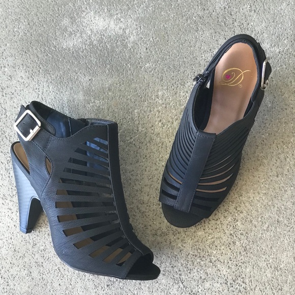Ebony Black Peep Toe Cage Heel Sandal